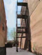 Escape Mixed Media Originals - Alley w fire escape by Anita Burgermeister