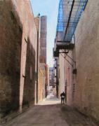 Escape Originals - Alley w guy reading by Anita Burgermeister