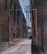 Architecture Mixed Media Originals - Alley with Fire Escape layered by Anita Burgermeister