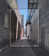 Cityscape Mixed Media Originals - Alley with Guy Reading layered by Anita Burgermeister