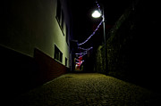 Old Light Framed Prints - Alley with lights Framed Print by Mats Silvan