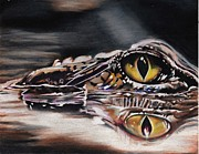 Reptiles Drawings Prints - Alleyegator Print by Joan Pollak