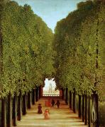 Tree-lined Metal Prints - Alleyway in the Park Metal Print by Henri Rousseau