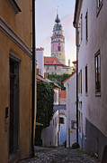 Cesky Krumlov Prints - Alleyway through an Old City Print by Jeremy Woodhouse