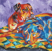 Boxer Paintings - Allie and Sam by Caroline Davis