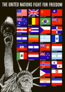 Statue Of Liberty Prints - Allied Nations Fight For Freedom Print by War Is Hell Store