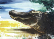Human Mixed Media - Alligator by Anthony Burks