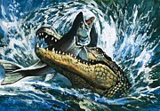 Alligator Paintings - Alligator Eating Fish by English School