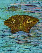 Alligator Tapestries - Textiles - Alligator Eyes Fine Art Batik by Kay Shaffer