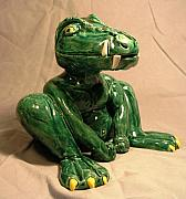 Cartoon Ceramics - Alligator gargoyle by Bob Dann