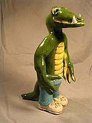 Cartoon Ceramics - Alligator jogger by Bob Dann