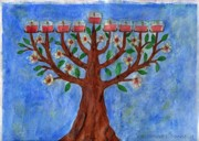 Menorah Paintings - Almond Blossom Menorah by Cassandra Donnelly