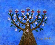 Menorah Mixed Media Prints - Almond Blossom Menorah Lampstand Print by Cassandra Donnelly