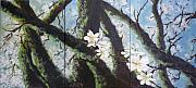 Trees Paintings - Almond Blossom Triptych by Lizzy Forrester