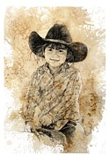 Cowboy Drawings Prints - Almost Five Print by Debra Jones