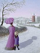 Winter Scene Paintings - Almost Home by Peter Szumowski