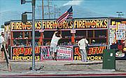 Fireworks Paintings - Almost Independence Day by Michael Ward