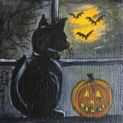 Halloween Scene Paintings - Almost Midnight by Julie Brugh Riffey