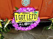 License Plates Prints - Aloha Print by Cheryl Young