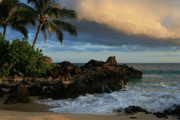 Tropical Islands Posters - Aloha Naau Sunset Paako Beach Honuaula Makena Maui Hawaii Poster by Sharon Mau