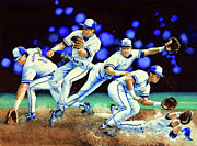 Action Sports Artist Paintings - Alomar On Second by Hanne Lore Koehler