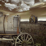 Antique Wagon Posters - Alone on the Plains Poster by Jeff Burgess