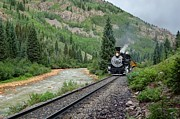 Narrow Gauge Steam Engine Prints - Along the Animas Print by Ken Smith