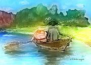 Rowboat Digital Art Posters - Along The Banks Of Hanoi Poster by Arline Wagner