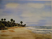 Palmettos Prints - Along the Beach Edisto Beach SC Print by Anna Barnwell-Williams