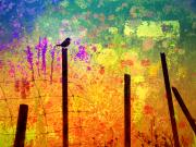 Silhouette Digital Art - Along the Fence by Tara Turner