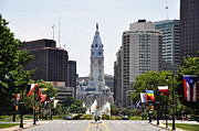 City Hall Framed Prints - Along the Parkway in Philadelphia Framed Print by Bill Cannon