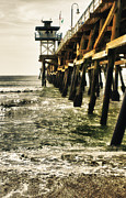 San Clemente Pier Posters - Along the Pier Poster by Barbara Eads