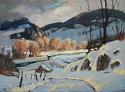 Lit Painting Originals - Along The River by Len Stomski