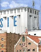 Industrial Mixed Media Prints - Along the River Zaan Lassie Silo Print by Rob De Vries
