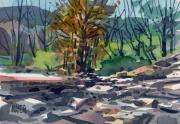 Sonoma Painting Prints - Along the Russian River Print by Donald Maier