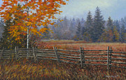 Split Rail Fence Painting Prints - Along the Stoney Batter Road Print by Richard De Wolfe