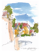 Old Houses Drawings - Along the Town Walls by Marilyn MacGregor