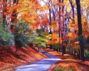 Autumn Landscape Painting Prints - Along the Winding Road Print by David Lloyd Glover