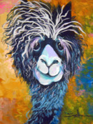 Quirky Painting Posters - Alpaca Punked Poster by Patty Sjolin