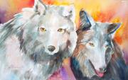 Wolf Artist Painting Posters - Alpha Beta Poster by Anne Michelsen