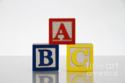 Wooden Blocks Framed Prints - Alphabet Blocks Framed Print by Photo Researchers, Inc.