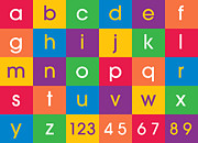 Bedroom Prints - Alphabet Colors Print by Michael Tompsett