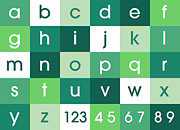 Bedroom Prints - Alphabet Green Print by Michael Tompsett