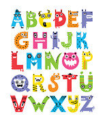 Printed Digital Art Prints - Alphabet Monsters Print by Andi Bird