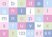 Bedroom Prints - Alphabet Pastel Print by Michael Tompsett