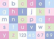 Alphabet Pastel Print by Michael Tompsett