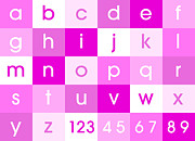 Learning Posters - Alphabet Pink Poster by Michael Tompsett
