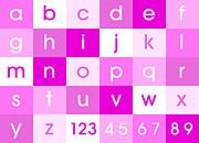Alphabet Pink Print by Michael Tompsett