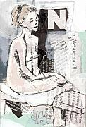 Female Mixed Media - Alphbet nude N by Joanne Claxton