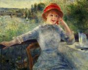 Cafe Terrace Framed Prints - Alphonsine Fournaise Framed Print by Pierre Auguste Renoir